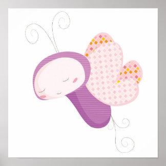 Mariposa animal de los bebés póster