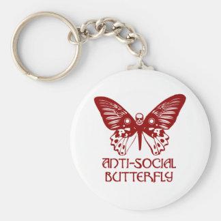 Mariposa antisocial llaveros personalizados