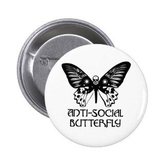 Mariposa antisocial pin redondo 5 cm