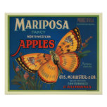 Mariposa Apples Fruit Crate Label Poster