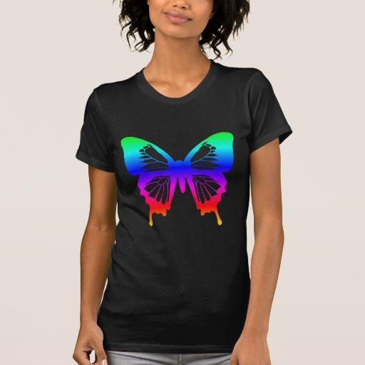 Mariposa - arco iris camisetas