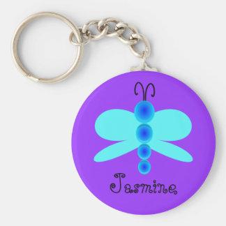Mariposa azul bonita conocida personalizada llavero redondo tipo pin