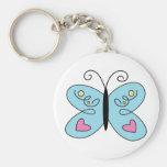 Mariposa azul caprichosa con las alas del corazón llavero