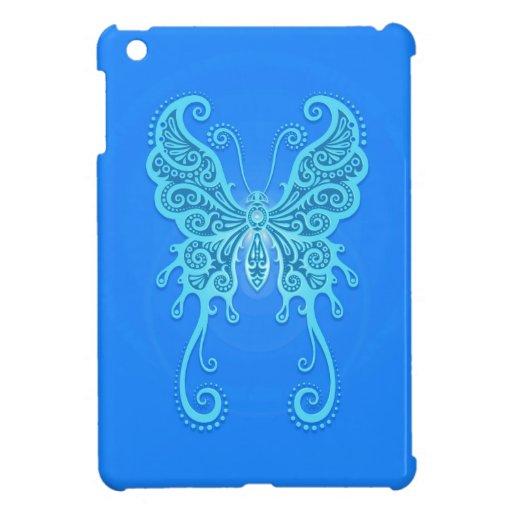 Mariposa azul clara compleja iPad mini fundas