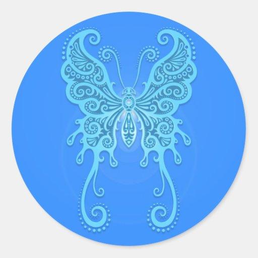 Mariposa azul clara compleja pegatinas redondas