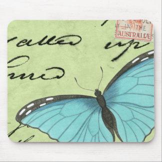Mariposa Azul-Coa alas en la postal del trullo Mousepad