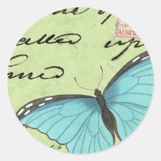 Mariposa Azul-Coa alas en la postal del trullo Pegatina Redonda