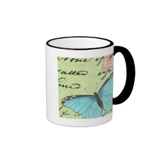 Mariposa Azul-Coa alas en la postal del trullo Taza De Dos Colores