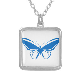 Mariposa azul colgante cuadrado