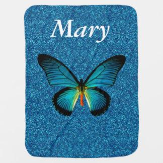 Mariposa azul de encargo en la manta azul del bebé mantas de bebé