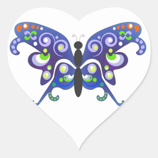 Mariposa azul de la fantasía por BestPeople Pegatina En Forma De Corazón