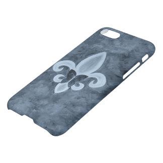 Mariposa azul de la flor de lis del dril de funda para iPhone 7