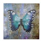 Mariposa azul de la galaxia azulejo ceramica