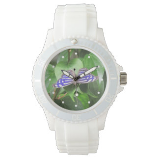 Mariposa azul de la onda reloj