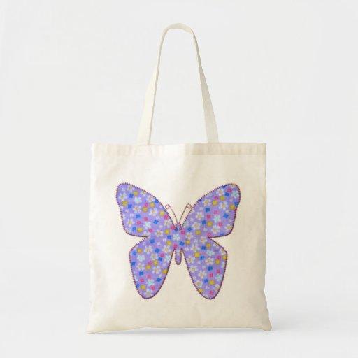 Mariposa azul de la tela bolsas de mano