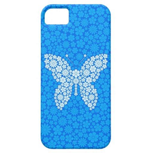 Mariposa azul de las flores salvajes iPhone 5 carcasas