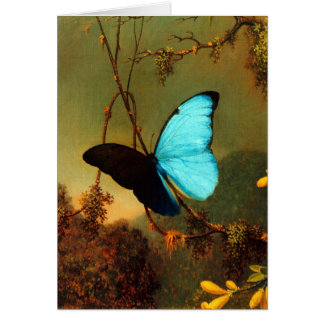 Mariposa azul de Martin Johnson Heade Morpho Tarjeta Pequeña