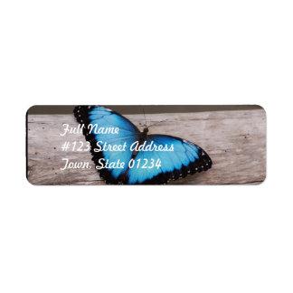 Mariposa azul de Morpho Etiqueta De Remite