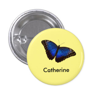 Mariposa azul de Morpho personalizada Pin Redondo De 1 Pulgada