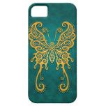 Mariposa azul de oro compleja iPhone 5 Case-Mate cárcasas
