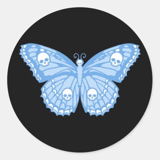 Mariposa azul del cráneo pegatina redonda