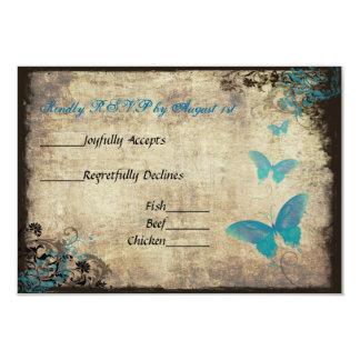 Mariposa azul del vintage que casa la tarjeta de comunicado personal