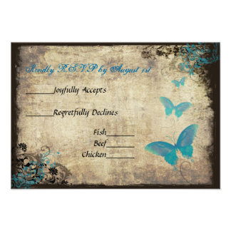 Mariposa azul del vintage que casa la tarjeta de R Comunicado Personal