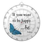 Mariposa azul del vintage y cita de la felicidad d tabla dardos