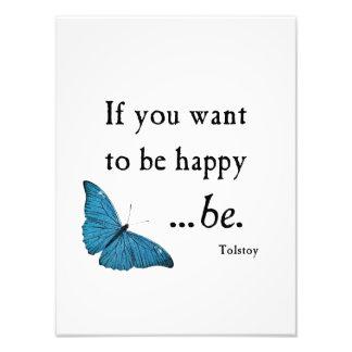 Mariposa azul del vintage y cita de la felicidad d fotografía