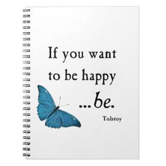 Mariposa azul del vintage y cita de la felicidad d libro de apuntes con espiral
