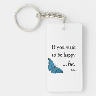Mariposa azul del vintage y cita de la felicidad d llavero