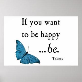 Mariposa azul del vintage y cita de la felicidad d poster