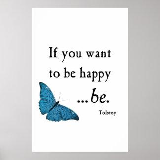 Mariposa azul del vintage y cita de la felicidad d póster