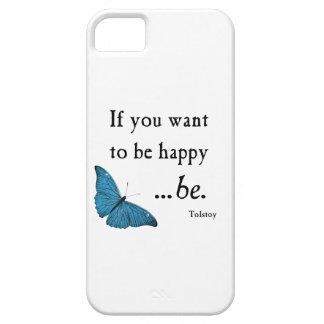 Mariposa azul del vintage y cita de la felicidad iPhone 5 Case-Mate carcasas