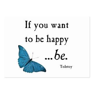 Mariposa azul del vintage y cita de la felicidad tarjetas de visita grandes