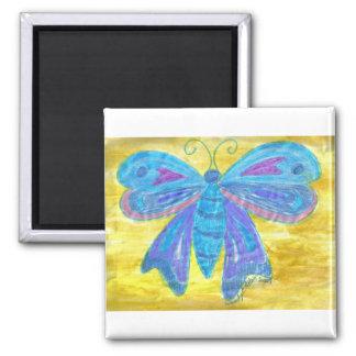 Mariposa azul en amarillo imán cuadrado