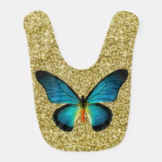 Mariposa azul en el babero del bebé del brillo del