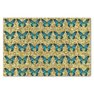 Mariposa azul en el papel seda del brillo del oro papel de seda pequeño