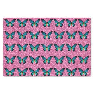 Mariposa azul en el papel seda rosado del brillo papel de seda pequeño