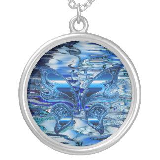 Mariposa azul en fondo del agua colgante redondo