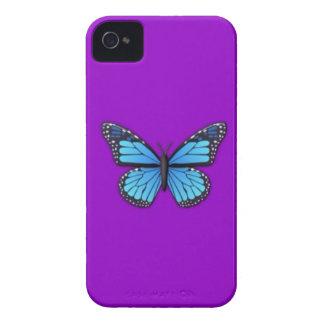 Mariposa azul en la caja púrpura del iPhone 4 para iPhone 4 Case-Mate Carcasa