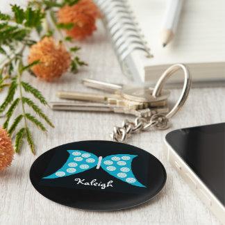 Mariposa azul en llavero personalizado negro