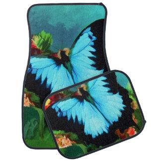 Mariposa azul en pintura al óleo de la planta del  alfombrilla de coche