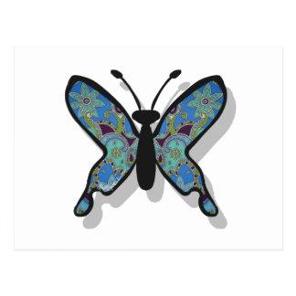 Mariposa azul floral del tema tarjetas postales