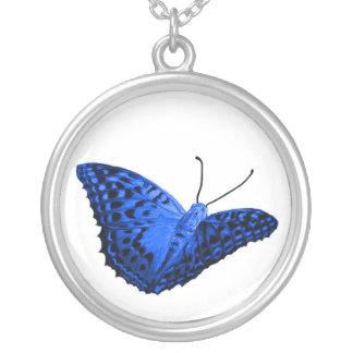 mariposa azul halskette collar plateado
