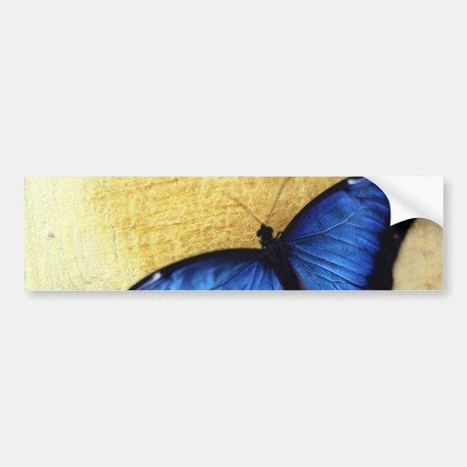 Mariposa azul hermosa de Morpho Pegatina De Parachoque