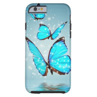 mariposa azul hermosa funda para iPhone 6 tough