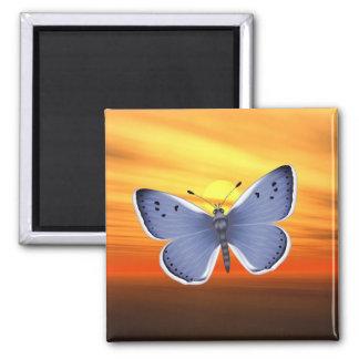 Mariposa azul iman para frigorífico