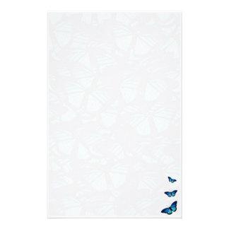 Mariposa azul inmóvil papelería personalizada