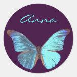 Mariposa azul iridiscente bonita etiquetas